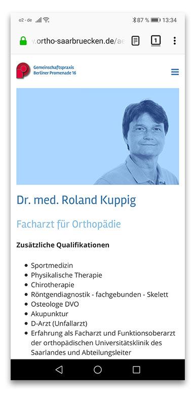 Orthopädie Saarbrücken Webdesign